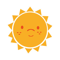 Yellow sun funny cartoon, isolated flat icon vector illustration graphic.