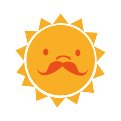 Yellow sun funny cartoon, isolated flat icon vector illustration graphic.