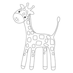Coloring page Little cute giraffe isolated on white background for kid colouring book. Vector illustration