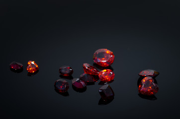 Red Ruby on black shine table,