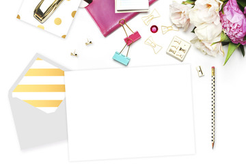 Flat lay. Feminine scene. Office background. Mock-up for your photo or text Place your work. Woman desktop, template card, Peonies and gold stationery. Gold Polka. Header website or Hero website.