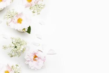 Flowers on white background. Flat lay. Mock-up desk. Beauty
