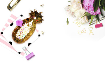 Styled background. Mock-up photo. Fashion and trendy. Flat lay. Stationery items, polka dots pattern with pineapple and pencil, gold stapler. Header for site, hero