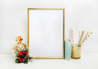 gold picture frame with decorations. Mock up for your photo or text Place your work, print art,shabby style, white background, pastel color book
