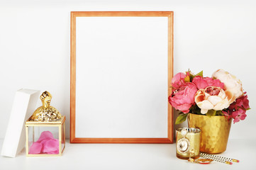 picture frame with decorations. Mock up for your photo or text Place your work, print art,shabby style, white background, pastel color book