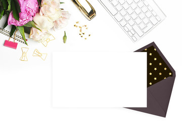 Mockup product view table gold accessories. stationery supplies. glamour style. Envelope and template blank.Header website or Hero website. Flat lay