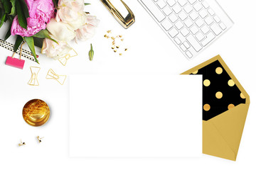 Wedding background. Mock-up for your photo or text Place your work. Woman desktop, template card, Peonies and gold stationery. Gold Polka. Header website or Hero website