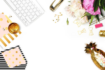 Flat lay. Flower on the table.  Gold pineapple, brush pattern and gold polka dots pattern. Table view. Business accessories. Mock-up background. Peonies, glamour style. Open envelope. Invitation