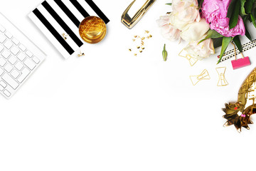 Flat lay. Flower on the table. Keyboard and stapler. Stripe pattern.Table view. Business accessories. Mock-up background.Peonies