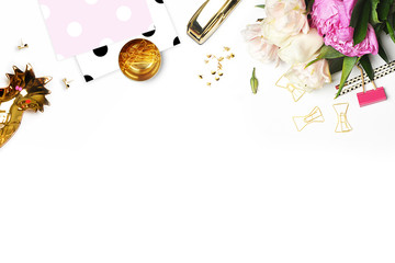 Mockup product view tablewoman accessories. stationery supplies. glamour style. Gold stapler. polka gold. Header website or Hero website. Flat lay