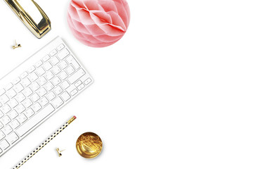 Office desk and woman objects on white table. Flat lay. Paper ball, gold stapler, pencil. Still life of fashion...