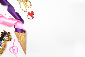 Header site or hero site.Lady accessories, pineapple, stapler and handbag. White background mock-up.Top view. Table up. Flat lay. Party background