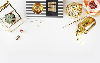 Gold & Black. Header website or Hero website, Mockup product view table gold accessories. Flat lay. Workspace. Background mock-up