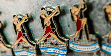 Fridge magnets with traditional tango dancers on Caminito street in La Boca neighborhood, Buenos Aires