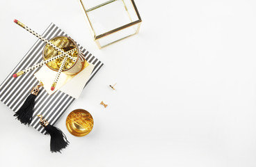 Header website or Hero website, view table gold accessories office items. Feminine desk. Flat lay