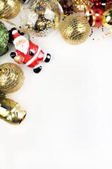 Christmas background. Mockup christmas. Table view and gold christmas items