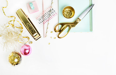 Flat lay. Mock-up product view table gold accessories. stationery supplies. glamour style. Gold stapler. polka gold. Header website or Hero website. Workspace. Home office