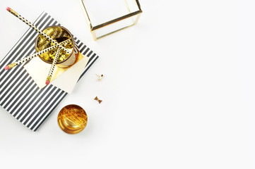 Header website or Hero website, view table gold accessories office items. Flat lay. Feminine workspace
