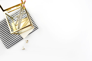 Header website or Hero website, view table gold accessories office items. flat lay
