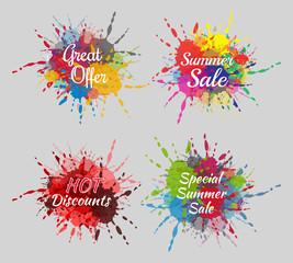 Colorful summer sales splash labels