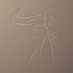 Buffalo illustration line art debossed design isolated on light brown color gradient background