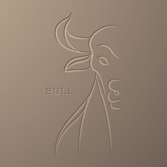 Bull illustration line art debossed design isolated on light brown color gradient background