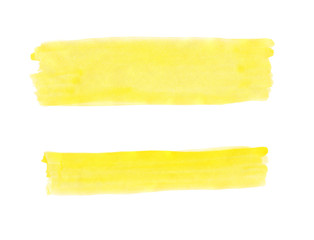 Wide and narrow yellow band painted with gouache