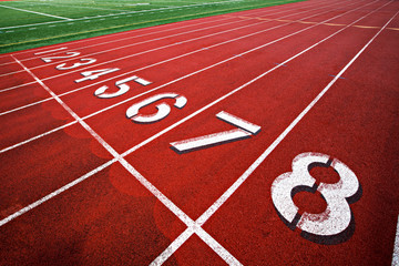 Track and field starting lane numbers 1-8.