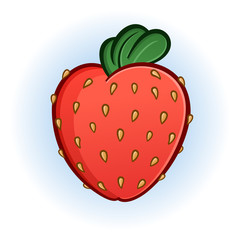 Plump Juicy Strawberry Cartoon Illustration