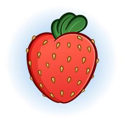 Plump Juicy Strawberry Cartoon Illustration