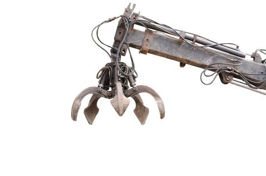 Clamshell with Hydraulic crane isolated on white background clip