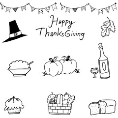 Happy Thanksgiving element in doodle