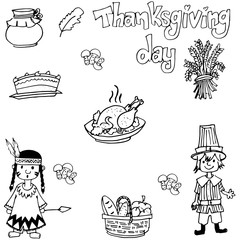 Doodle of Thanksgiving indian people and food
