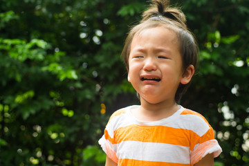 Asian baby boy crying in the garden