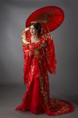 Beautiful Asian model Young asia Oriental woman wearing chinese