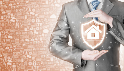 House protection and insurance. Home shield. Real estate safety. Icons background. Communication and Internet concept.