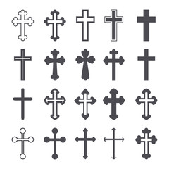 Cross icons set. Decorated crosses signs or symbols. Vector
