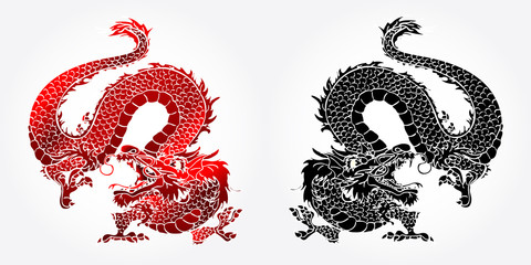 Angry Asian dragon red and black