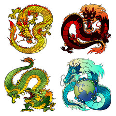 Set four cunning Asian color dragon