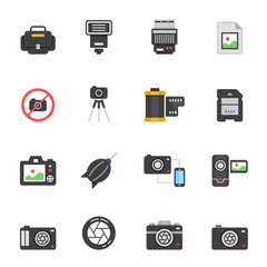 Color icon set - camera and accessory