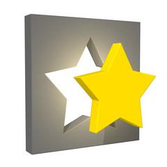 星を枠に入れる評価するをイメージした3Dレンダリング画像