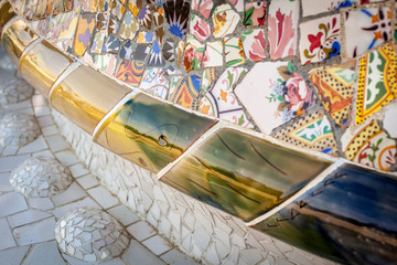 detail of famous colorful bench of park Guell, Barcelona