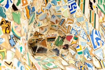 Close-up of the ceramics in Park Guell Barcelona created by Gaudi