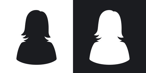 Vector female user icon. Two-tone version on black and white background