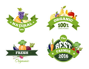 Organic farming products vector labels, emblems, badges, logos, stickers set. Organic food emblem and badge organic natural fruits and vegetables illustration