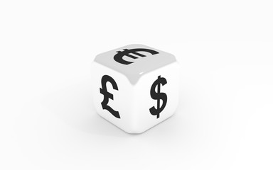 Dice with euro, pound and dollar sign. 3D rendering