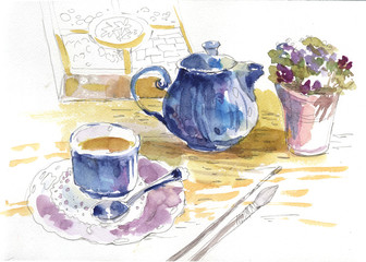 sketch, still life, watercolor