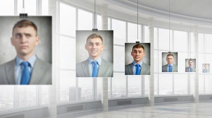 Portrait of headless businessman . Mixed media