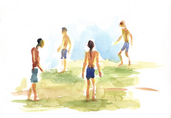 boys, beach, watercolor