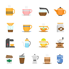 Color icon set - coffee and tea